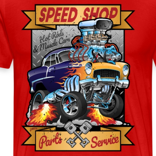 Speed Shop Hot Rod Muscle Car Cartoon Illustration - Men's Premium T-Shirt