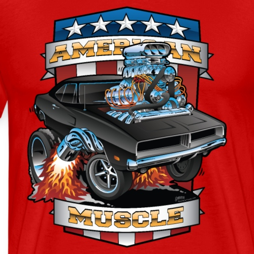 American Muscle Patriotic Muscle Car Cartoon - Men's Premium T-Shirt