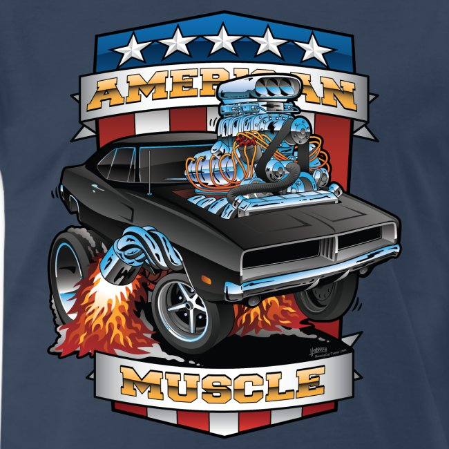American Muscle Patriotic Muscle Car Cartoon