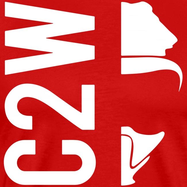 C2W Split Logo - White - Premium Tee