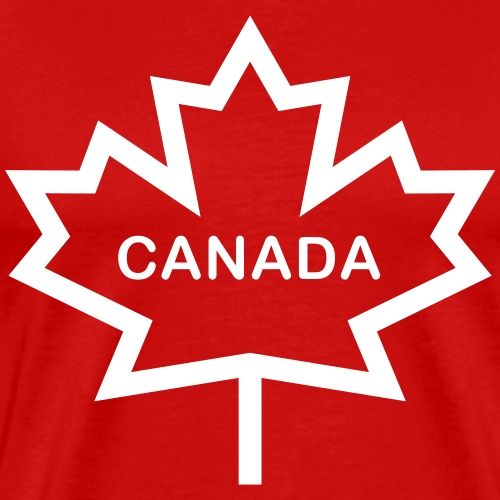 Maple Leaf with Canada in Rounded Letters - Men's Premium T-Shirt