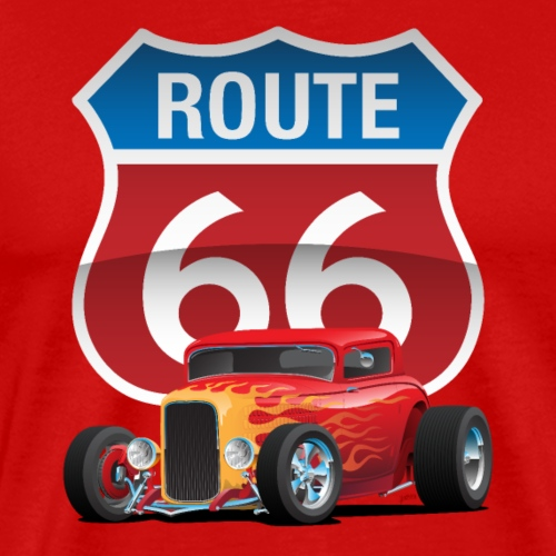 Route 66 Sign with Classic American Red Hotrod