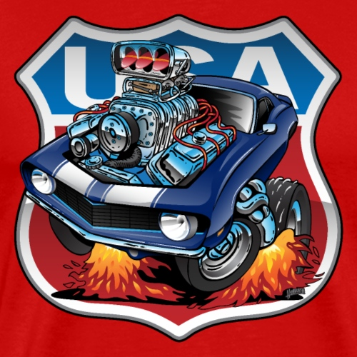 USA Classic Muscle Car Pride Cartoon Illustration - Men's Premium T-Shirt