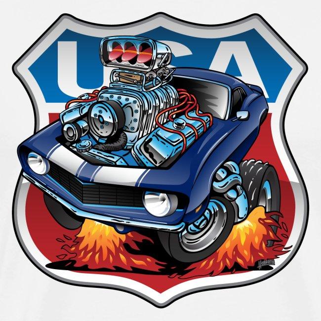 USA Classic Muscle Car Pride Cartoon Illustration