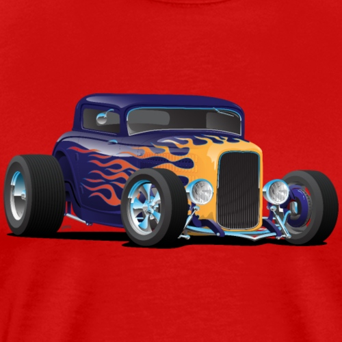 Vintage Hot Rod Car with Classic Flames - Men's Premium T-Shirt