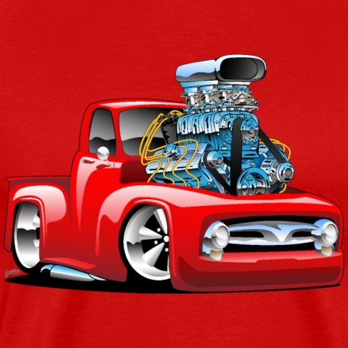 American Classic Hot Rod Pickup Truck Cartoon - Men's Premium T-Shirt