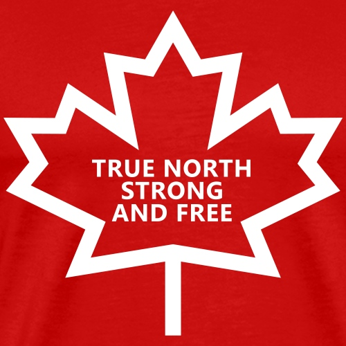 True North Strong and Free in Stylized Maple Leaf - Men's Premium T-Shirt