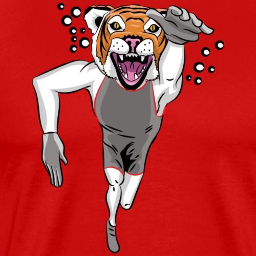 Custom Tiger mascot - swimming - Men's Premium T-Shirt