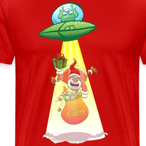 Santa Claus abducted by an alien flying saucer - Men's Premium T-Shirt