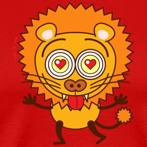 Brave lion falling madly in love - Men's Premium T-Shirt