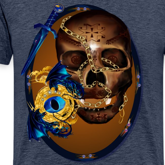 Oval-Dark Skull with Evil