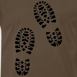 For lovers of hiking: hiking boots, footprints. - Men's Premium T-Shirt