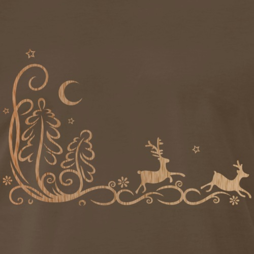 Deer in the forest, silhouette. - Men's Premium T-Shirt