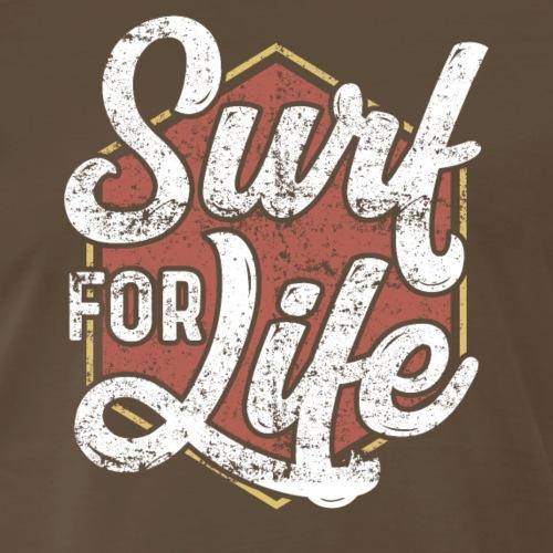 Surf For Life. Vintage/Retro Surf T-Shirt Design. - Men's Premium T-Shirt