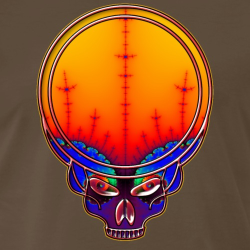Dead Style Skull with Fractal Eyes and Background - Men's Premium T-Shirt