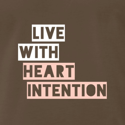 LIVE with heart intention stencil- white and pink - Men's Premium T-Shirt