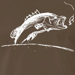 Bass Fishing Stencil - White - Men's Premium T-Shirt