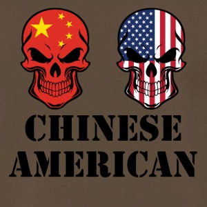 Chinese American Flag Skulls - Men's Premium T-Shirt
