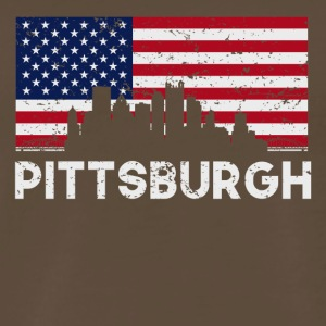 Pittsburgh PA American Flag Skyline Distressed - Men's Premium T-Shirt