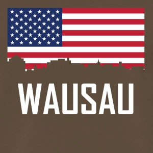 Wausau Wisconsin Skyline American Flag - Men's Premium T-Shirt