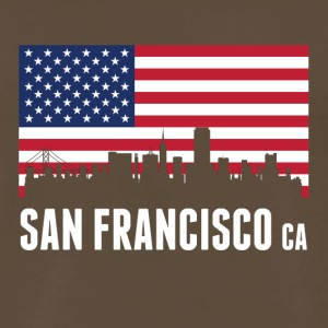 American Flag San Francisco Skyline - Men's Premium T-Shirt