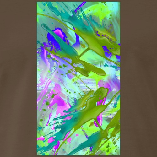 Purple Blue and Bright Green Paint Splatter - Men's Premium T-Shirt