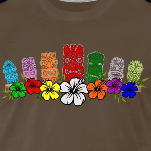 7 Colorful Hawaiian - Polynesian Tiki Idols - Men's Premium T-Shirt