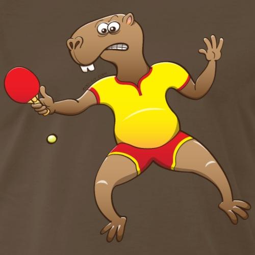 Capybara Playing Table Tennis - Men's Premium T-Shirt