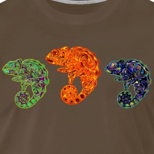 3 Cute Multi-Colored Chameleons - Men's Premium T-Shirt