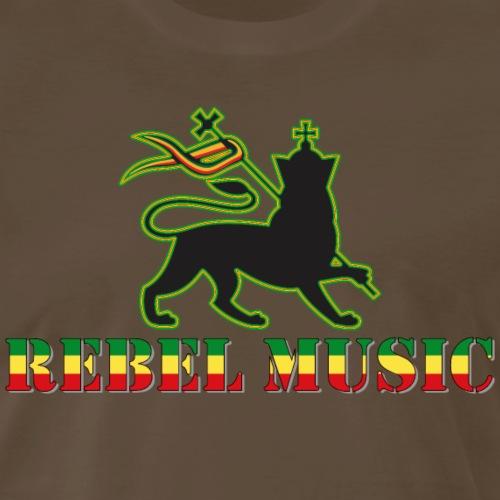 Rebel Music - Reggae Music with Lion of Judah - Men's Premium T-Shirt