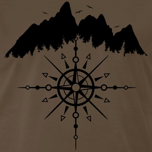 Mountains with Sun Totem and Wind Rose. - Men's Premium T-Shirt