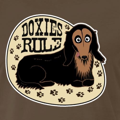 Doxies Rule Cartoon Longhair Dachshund - Men's Premium T-Shirt