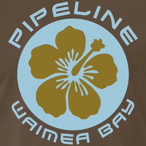 Pipeline at Waimea Bay - White Hibiscus Flower - Men's Premium T-Shirt