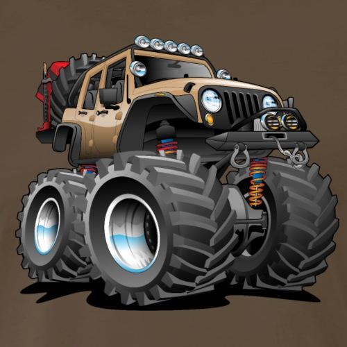 Off road 4x4 desert tan jeeper cartoon - Men's Premium T-Shirt