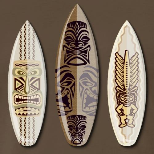 Three Surfboards with Hawaiian Tiki Symbols - Surf - Men's Premium T-Shirt