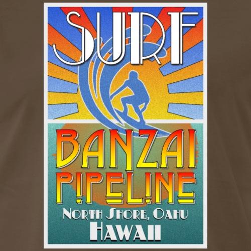 Banzai Pipeline, North Shore, Oahu, Art Deco Style - Men's Premium T-Shirt