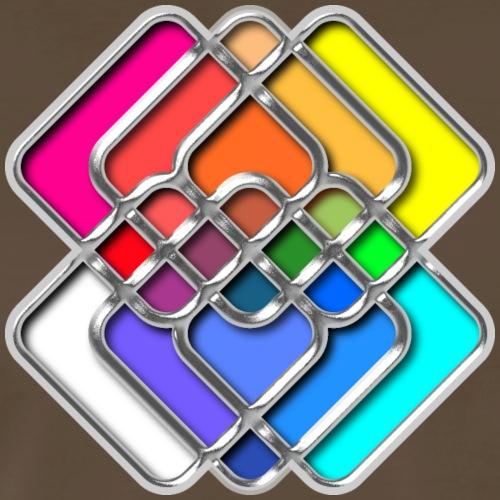 Abstract Color Chrome Geometric Squares - Men's Premium T-Shirt