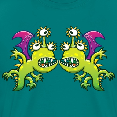 Three-eyed monstrous dragons face to face meeting - Men's Premium T-Shirt