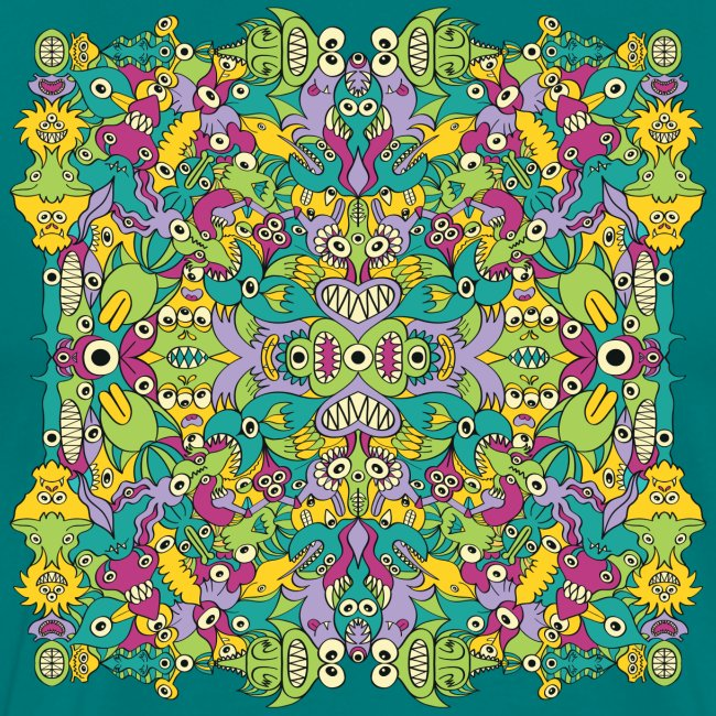 Odd Doodle art monsters in a colorful pattern