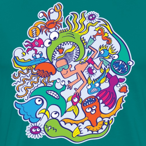 Summer swimming with weird dangerous sea creatures - Men's Premium T-Shirt