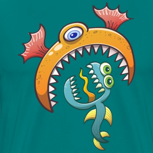 One-eyed sea monster eats a scared ugly creature - Men's Premium T-Shirt