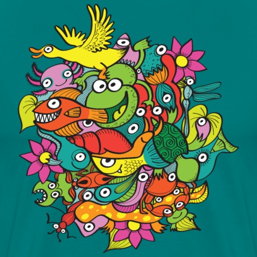 Amazing crowd of funny creatures living in a pond - Men's Premium T-Shirt