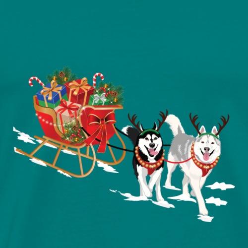 Siberian Husky Christmas Sleigh - Men's Premium T-Shirt