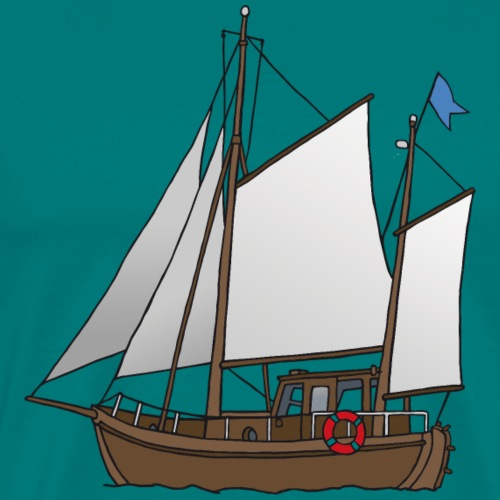 Wooden sailing boat (cutter) - Men's Premium T-Shirt