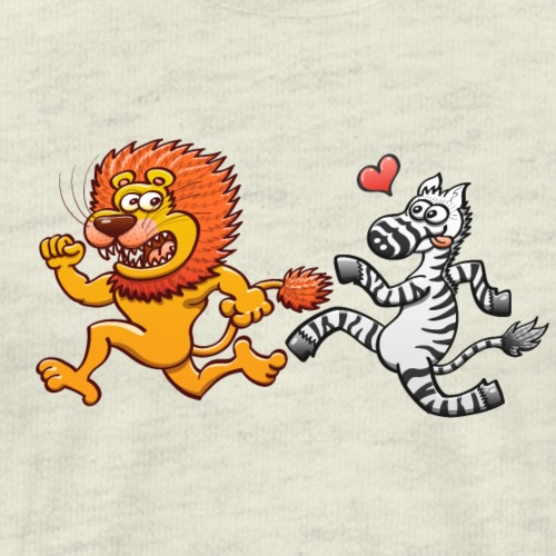 Bold zebra in love running after a scared lion - Men's Premium T-Shirt