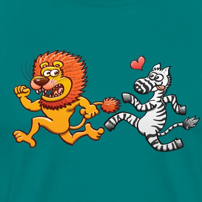 Bold zebra in love running after a scared lion