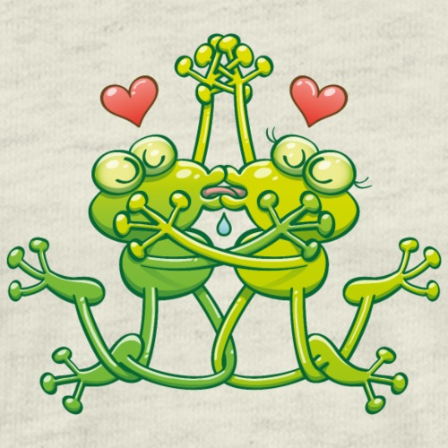 Frogs in love drooling, hugging and French kissing - Men's Premium T-Shirt