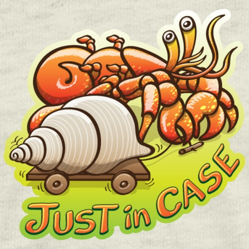 Hermit crab goes out but takes shell, just in case - Men's Premium T-Shirt