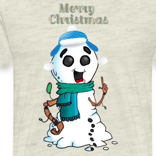 Snowman Green Scarf Blue Hat Twig Hands - Men's Premium T-Shirt