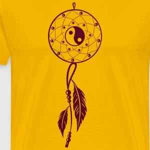 Dreamcatcher with feather and Yin and Yang - Men's Premium T-Shirt